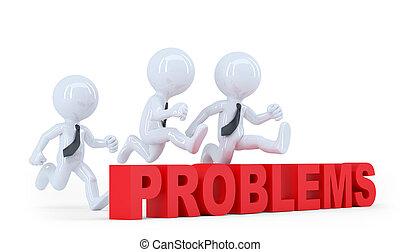 zakelijk, op, problems., vrijstaand, springt, obstakel, hindernis, team