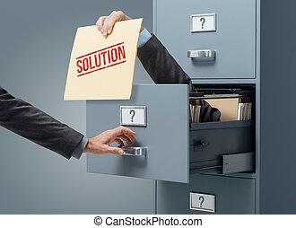 zakelijk, oplossing, en, probleem oplossen