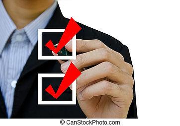 zakelijk, options., velen, mark, dozen, kies, hand, ...