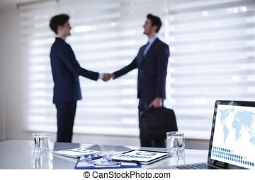 zakelijk, overeenkomst, in, kantoor