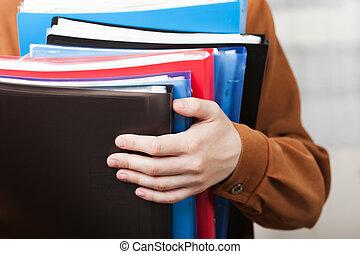 zakelijk, papier, archief, in, hand