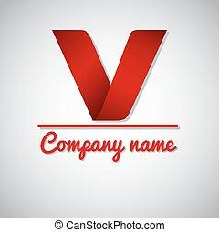 zakelijk, papier, brief, v, logo, pictogram