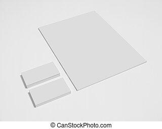 zakelijk, papieren, stapel, leeg, kaarten, witte