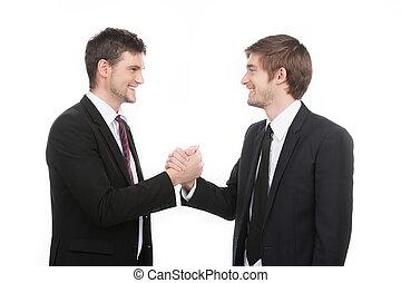 zakelijk, partners., twee, vrolijk, zakenlui, schuddende...