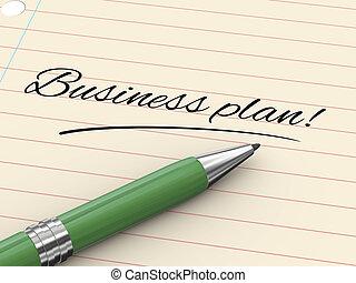 zakelijk, -, pen, papier, plan, 3d