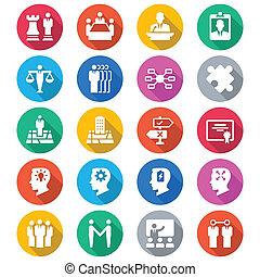 zakelijk, plat, kleur, iconen