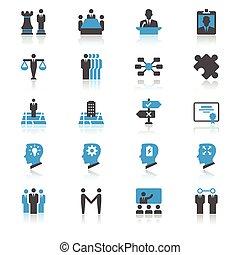 zakelijk, plat, met, reflectie, iconen