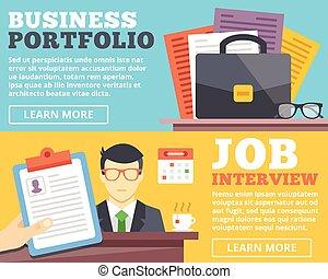 portfolio sollicitatie Portfolio, zakelijk. Plat, vector, portfolio., handel illustratie. portfolio sollicitatie