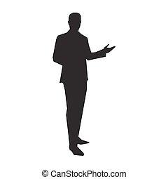 zakelijk, presentator, in, kostuum, vector, silhouette