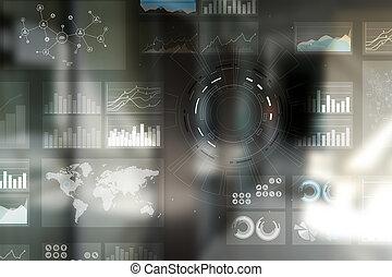 zakelijk, proces, en, strategie, op, feitelijk, screen., data, analysis., workflow.