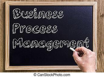 zakelijk, proces, management, bpm, -, nieuw, chalkboard, met, 3d, geschetste, tekst