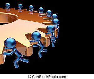 zakelijk, proces, tandrad, vennootschap, gearwheel, teamwork