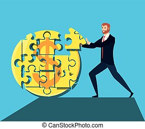 zakelijk, puzzelstukjes, vorm, cirkel, man