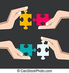 zakelijk, raadsel, oplossing, stukken, hands., menselijk, strategie, symbool.