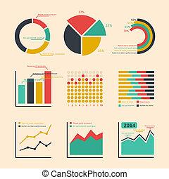 zakelijk, ratings, grafieken, en, diagrammen