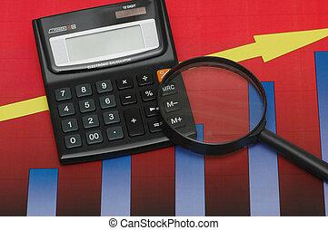 zakelijk, resultaten, onder nauwkeurig onderzoek, -, rekenmachine, en, diagrammen