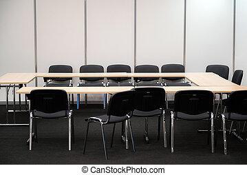 zakelijk, room., beslissing, stoelen, bureau, vervaardiging, vergadering, lege