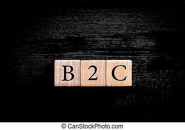 zakelijk, ruimte, acroniem, vrijstaand, b2c-, kopie, consument