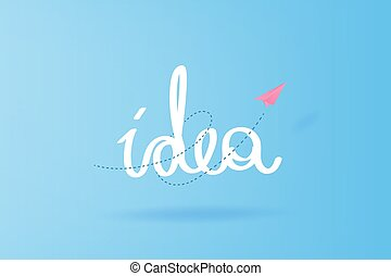 zakelijk, ruimte, vliegtuigen, hemel, achtergrond., typography., bewindvoering, vector, hand, papier, ontwerp, knippen, idee, succes, trekken, idee, blauwe , jouw, tekst, illustratie, creatief, eps10, wolken, vliegen, concept