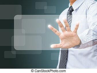 zakelijk, scherm, voortvarend, hand, beroeren, interface