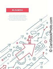 zakelijk, succes, -, lijn, ontwerp, informatieboekje ,...