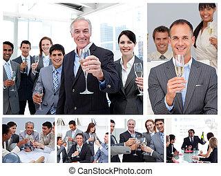 zakelijk, succes, mensen, collage, vieren, champagne