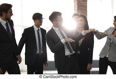 zakelijk, succes, mensen, concept., team, viering