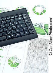 zakelijk, tabel, en, toetsenbord