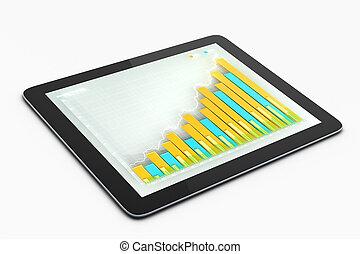 zakelijk, tabel, op, tablet, scherm