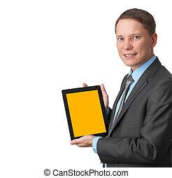 zakelijk, tablet, scherm, computer, vasthouden, leeg, man