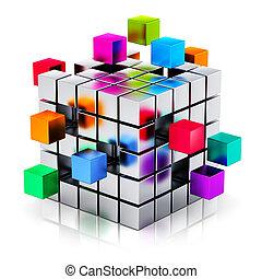 zakelijk, teamwork, internet, en, communicatie, concept