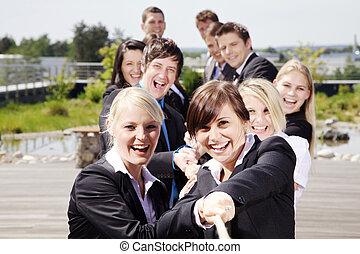zakelijk, teamwork, mensen, het trekken, op, koord