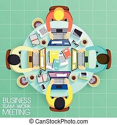 zakelijk, teamwork, ontwerp, plat, vergadering