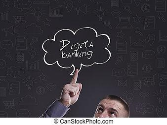 zakelijk, technologie, internet, en, marketing., jonge, zakenman, denken, about:, digitaal bankwezen