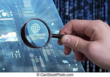 zakelijk, technologie, internet, en, netwerk, concept., jonge, zakenman, doorwerken, een, feitelijk, scherm, van, de toekomst, en, ziet, de, inscription:, software, testen