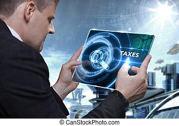 zakelijk, technologie, internet, en, netwerk, concept., zakenman, doorwerken, de, tablet, van, de toekomst, selekteer, op, de, feitelijk, display:, belastingen