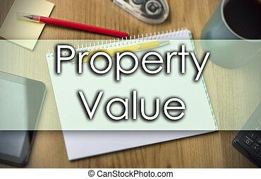 zakelijk, tekst, eigendom, -, concept, waarde