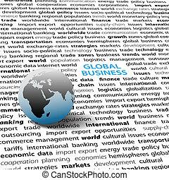 zakelijk, tekst, globe globaal, wereld, pagina, kwesties