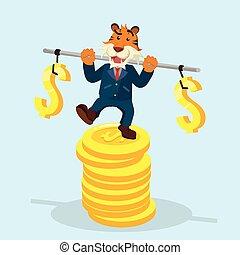 zakelijk, tiger, stabiliseren, op, stapel, van, munt