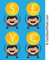 zakelijk, valuta, mannen, vasthouden, muntjes