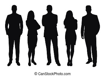 zakelijk, vector, silhouettes, set, mensen