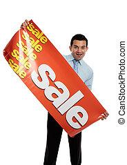 zakelijk, verkoper, verkoop, vasthouden, spandoek, of
