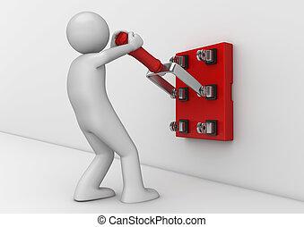 zakelijk, verzameling, -, elektromonteur, met, mes, switch