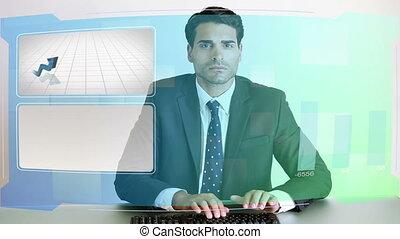 zakelijk, video's, met, diagrammen