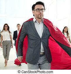 zakelijk, vooruit, mantel, team, superhero's, zakenman