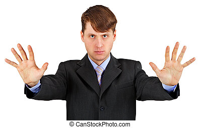 zakelijk, vrijstaand, blokkeeren, serieuze , witte , gebaar, man
