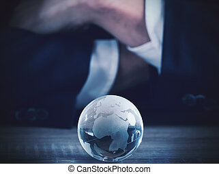 zakelijk, wereld, glas, bol