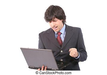zakelijk, werkende , draagbare computer, jonge, vrolijke , man