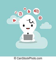 zakelijk, werkende , draagbare computer, netwerk, wolk, man