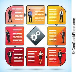 zakelijk, werknemer, presentatie, tabel